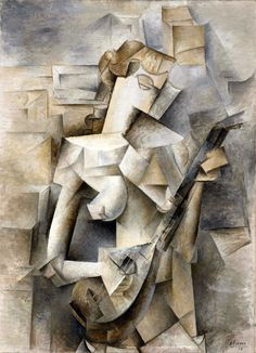 4th Dimension: Picasso's Woman with Mandolin (1910).  Picasso, always the sculptor, fragments the girl's body into facets that are modeled to simulate their projection out of the flat picture plane toward the viewer and that portray her in movement as she strums her mandolin. What Picasso is trying to depict here is the fourth dimension, the space/time continuum.