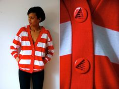 Vtg Retro Striped Red White Triangle Cut Out Button by LuluTresors, $29.99