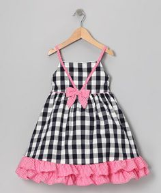Look at this Gidget Loves Milo Navy & Pink Gingham Ruffle Dress - Infant, Toddler & Girls by Gidget Loves Milo Simple Frock Design, Baby Dress Design, Toddler Girl Dresses, Toddler Outfits, Kids Outfits, Toddler Girls, Fashion Kids, Little Girl Dresses, Girls Dresses