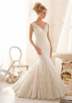 Mermaid-Scalloped-V-Neck-Low-Back-Pleated-Lace-Wedding-Dress-With-Straps-Buttons.jpg (450×637)