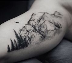 What does mountain tattoo mean? We have mountain tattoo ideas, designs, symbolism and we explain the meaning behind the tattoo. Tattoo Life, Tattoo Motive, Diy Tattoo, Tattoo Outline, Custom Tattoo, Body Art Tattoos, New Tattoos, Sleeve Tattoos, Tattoos For Guys