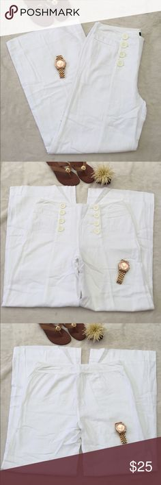 INC petite white pants Finally selling all of my beautiful white beach pants! The rise, inseam, and waist measurements are all posted in the pictures. They are in great condition. Has an attached lining made of 100% cotton to prevent any see-thru-ness.  Ask questions if you have any and make an offer, bundle and save I never decline & I always counter back! INC International Concepts Pants Wide Leg