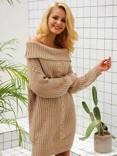Simplee One shoulder sexy winter dress women Knitted loose oversized jumper winter dress 2017 Autumn new casual pullover - TakoFashion - Women's Clothing & Fashion online shop Winter Dress Outfits, Winter Outfits Women, Casual Winter Outfits, Winter Fashion Outfits, Fall Fashion Trends, Summer Dresses, Outfit Winter, Winter Wear, Sweater Outfits