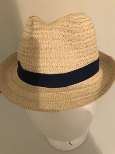 Little Boys Kids Straw w Navy Blue Band Hat Cap Fedora   b79e5de13