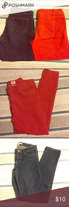 Lot: Mossimo red corduroys, XXI skinny jeans Lot: Mossimo red, soft, thin corduroys, size Junior 3 and Forever 21 dark wash skinny jeans, size 26. Both low rise. Both great, used condition. Both 5 pockets. Forever 21 Jeans Skinny