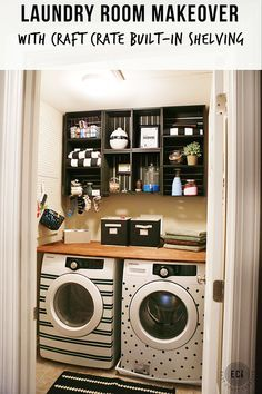 Laundry room makeover on the @homedepot apron blog.