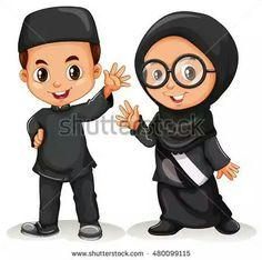 Muslim boy and girl in black costume Royalty Free Vector Muslim Family, Muslim Girls, Couple Cartoon, Cartoon Kids, Ribbon Png, Certificate Design Template, Ramadan Activities, Islamic Cartoon, Anime Muslim