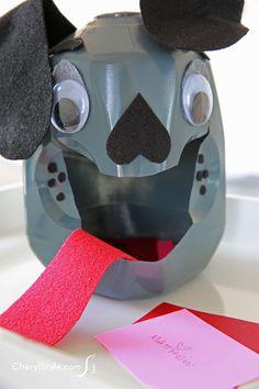 DIY ladybug and dog milk jug valentine card boxes Puppy Valentines, Valentine Day Boxes, Valentines For Kids, Valentine Crafts, Valentines Recipes, Printable Valentine, Homemade Valentines, Valentine Wreath, Valentine Ideas