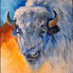 White Buffalo  oil painting by M Baldwin