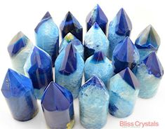 1 Blue Fancy AGATE Generator Point Tower Polished Point Agate Crystal Gift Color…