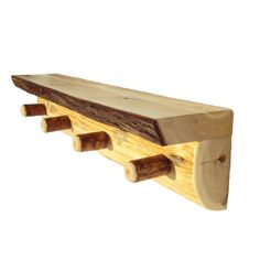 Half Log Peg Shelf Rustic Shelves Rustic Wood by WoodstockBoutique