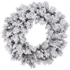 "Vickerman A128230 30"" Flocked Snow Ridge Wreath 160T"