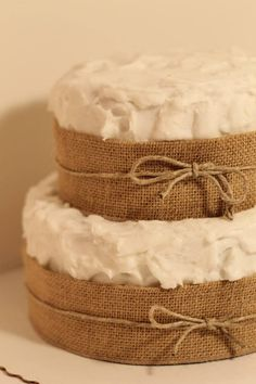 Two Tiered Burlap Cake | Pixie Cakes
