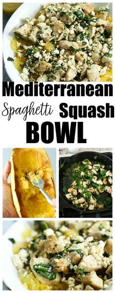 This Mediterranean Spaghetti Squash Bowl with Chicken and Spinach is an easy and healthy dinner idea that is gluten-free and lower carb! Side Recipes, Whole Food Recipes, Keto Recipes, Dessert Recipes, Healthy Weeknight Dinners, Healthy Meals, Healthy Food, Happy Healthy, Healthy Chicken Recipes