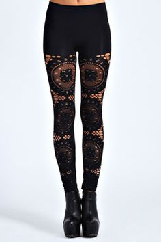 Jodie All Over Crochet Leggings -  Has use of dark color and tight fitting and use of lace by The Style Genome Project