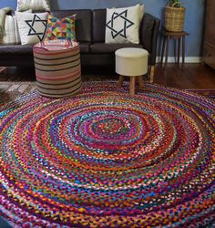 Large 200 cm Round Recycled Rag Floor Rug - PRE ORDER. Gorgeous round recycled rag rugs 200 cm diameter. (120 also available). These are going like HOT CAKES. We currently have only pre order only on this size, expected in around the start of Dec 2014. Please note this is a pre order and there will be a wait of up to 2 weeks. For pre orders we will contact you to let you know when to expect the rug to arrive.200 cm is $260 plus $35 postage Aust wide