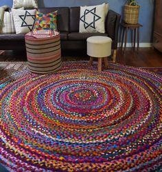 Large 200 Cm Round Recycled Rag Floor Rug Pre Order Gorgeous