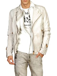 Diesel. Love the jacket and grey jeans