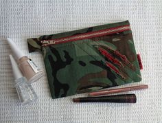Handmade camouflage pouch for cosmetic and make up items. Or anything else to stash! Military, army, weird, scary style. Red bloody scratches.