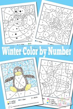FREE Winter Color by Numbers Worksheets.