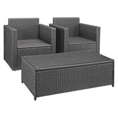 Palm Harbor 3pc Outdoor Wicker Seating Set In Grey Wicker with Navy Cushions: Coffee Table, and 2 Arm Chairs - Crosley