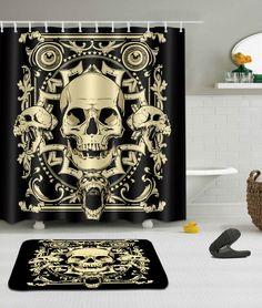 3 34 71x71 Shower Curtain Waterproof Fabric 12 Hooks Bathroom Mat Skull Yl1442
