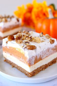Pumpkin Lush Dessert Bars recipe – the best, layered no-bake pumpkin dessert. The crust does not crumble and the layers stay stable while you cut and serve this delightful treat! Get the recipe HERE. No Bake Pumpkin Cheesecake, Cheesecake Desserts, Pumpkin Pie Bars, Pumpkin Dessert, Baked Pumpkin, Pumpkin Recipes, Fall Recipes, Cool Whip, Dessert Bars