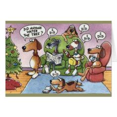 Funny DOGS WATER TREE Humorous Christmas Card - holiday card diy personalize design template cyo cards idea