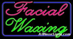 """Facial Waxing Neon Sign-10331  20"""" x 37"""" x 3""""  110 volt U.L. 2161 transformers  Cool, Quiet, Energy Efficient  Hardware & chain are included  6' Power cord  For indoor use only  1 Year Warranty/electrical components  1 Year Warranty/standard transformers"""