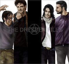 The Dresden Files -- Butters (?), Harry, Thomas, and Michael (*must* find out the artist ... these are great!)