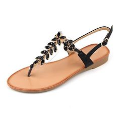 Mu Dan Womens Shoe Braided Rhinestone Flat Sandal 10 B M Black >>> You can find more details by visiting the image link.