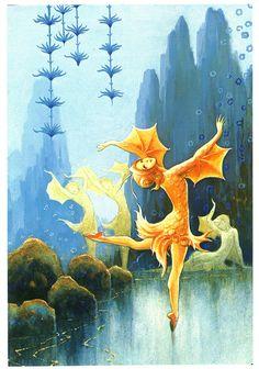 Rudolf Koivu: Pieni kultakala (The Little Goldfish) Art And Illustration, Illustrations, Graphic Design Print, Graphic Prints, Art Magique, Paper Toy, Printed Magnets, Autumn Fairy, Inspiration Art