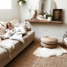 @emilyfaith22 Boho minimal neutral room decor IKEA jute rug IKEA poufs