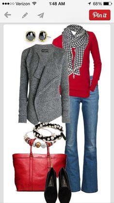 Bag: red outfit shoes sweater scarf