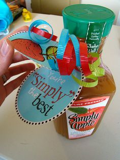 """""""Your Simply the Best"""" - Individual juices and basket of muffins.  Good first day of school treat...or mid-year."""