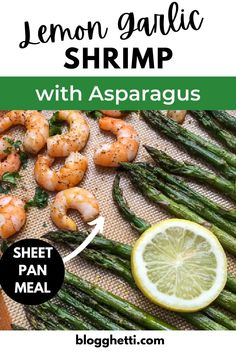 This Sheet Pan Lemon Garlic Shrimp with Asparagus is the easiest and perfect weeknight dinner. The whole meal from prep to serving is 30 minutes! Use fresh or frozen shrimp. Cooking with shrimp make a lean healthier meal choice, and they cook really quickly and taste great with almost anything you use on it or prepare with it. Fresh asparagus and lemon juice, lots of garlic and seasonings from the pantry all make this one mighty delicious meal. Lemon Garlic Shrimp, Shrimp And Asparagus, How To Cook Asparagus, Fresh Asparagus, Zucchini Vegetable, Vegetable Recipes, Side Dish Recipes, Easy Dinner Recipes, Dinner Ideas