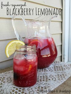 Blackberry Lemonade ~ 7 Lemons (1 1/2 cups lemon juice), 1 1/2 cup Sugar, 2 + 5 cups Water, zest of 1/2 Lemon, 1 pint Blackberries