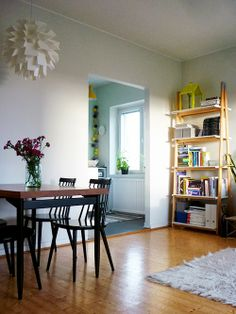 Uusi muste Ideal Home, Mid-century Modern, Bookcase, Sweet Home, Mid Century, Dining Table, Indoor, Shelves, Living Room