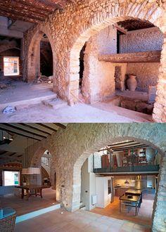 ↠ #Arquitectura con raíces ↞ Vigas, columnas y paredes de #piedra vista que rememoran y homenajean al pasado #interiorismo #tendencias #proyectos