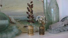 Vintage perfume bottle toppers, rhinestones, filigree, AB crystals , lavender, flowers, IRISE?, boudoir decor, 1950's, mid century decor by jemsbyjennym on Etsy