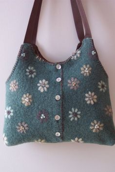 Felted Wool Sweater Bag /Purse by FiberLingo on Etsy