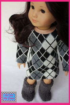 Cute Sweater Dress with Sherpa Style Boots sized for the American Girl Doll.  $26