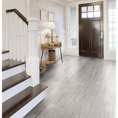 Style Selections Eldon White Wood Look Porcelain Floor Tile (Common: 6-in x 24-in; Actual: 23.62-in x 5.79-in)