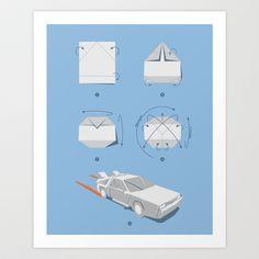 Origami DeLorean Art Print   (Back to the Future)