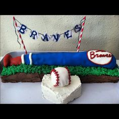 Baseball party baseball cake braves