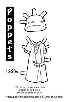 A 1920s Inspired Paper Doll Dress For The Poppet Printable Series Free In Black And White To Color From Paperthinpersonas