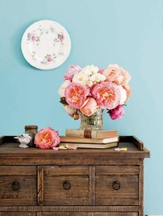 Lovely blooms in aqua room