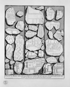 Some fragments of the Forma Urbis Romae in an engraving by Giovanni Battista Piranesi, 1756
