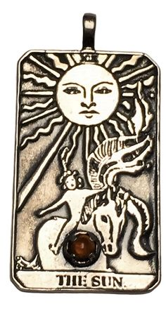 The SUN Tarot Card Pendant in .925 Sterling Silver with your choice of natural gemstone