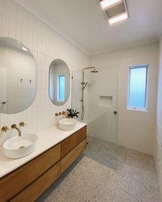 Redfern Terrazzo Look Mixed Oak Bathroom Vanity, Bathroom Renos, Laundry In Bathroom, Bathroom Faucets, Bathroom Ideas, Bathroom Inspo, Simple Bathroom Designs, Wooden Vanity, Terrazzo Flooring